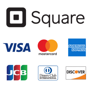 取扱いクレジットカードロゴ VISA、mastercard、AMERICAN EXPRESS、JCB、Diners Club INTERNATIONAL、DISCOVER