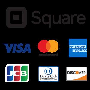 取扱いクレジットカードロゴ VISA、mastercard、AMERICAN EXPRESS、JCB、Diners Club INTERNATIONAL、DISCOVER